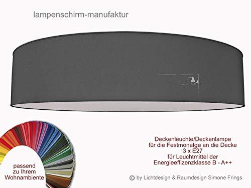 Aktionsprodukt Deckenleuchte Durchmesser 70 cm mit Stoff Lampenschirme Taupe Grau Rot Gelb Grün Pink Pastell oder viele andere Farben 3 x E27 Diffuser Blendschutz
