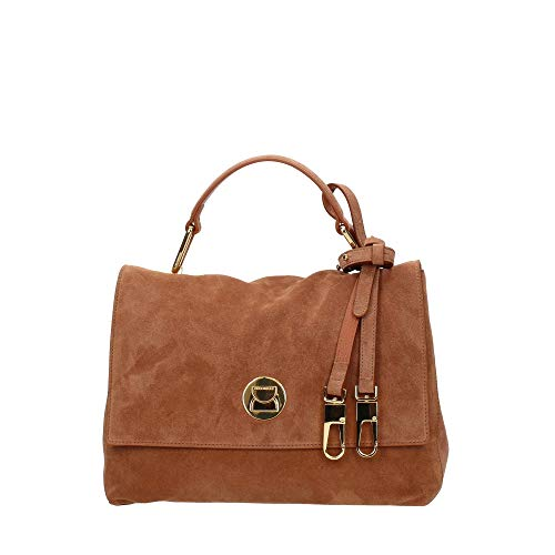 Coccinelle Liya Suede Top Handle Bag Tan