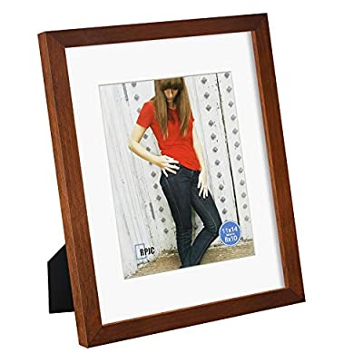 RPJC 11x14 inch Picture Frame Made of Solid Wood and High Definition Glass Display Pictures 8x10 with Mat or 11x14 Without Mat for Table Top Display and Wall Mounting Photo Frame with Stand Brown
