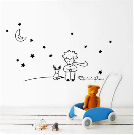 HNXCWR123 Le Petit Prince Fox Star Moon Wall Sticker Kids Baby Nursery Room Decor Enfant Cadeau Vinyle Autocollant. Décoration Art Mural