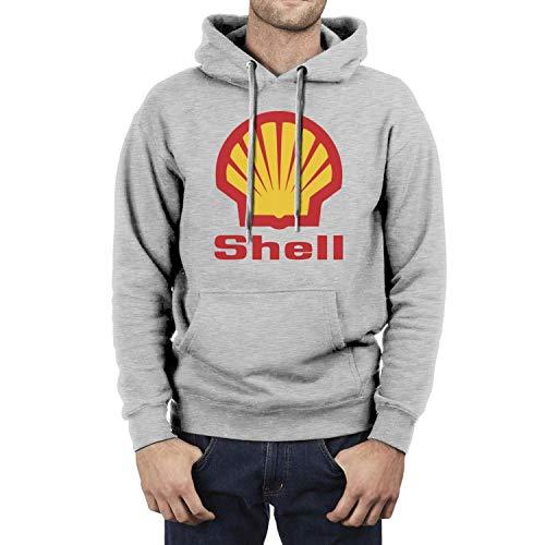 HQWT Men Cool Hoodies Sweatshirt Shell-Gasoline-Gas-Station-Logo- with Pocket Gray Hoodie Jacket
