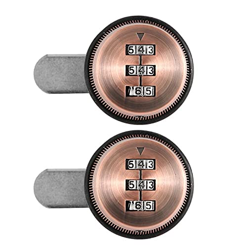Cerradura de código mecánica Cerradura de gabinete con contraseña de 3 dígitos Aleación de Zinc, para taquillas(Red Copper, 30mm)