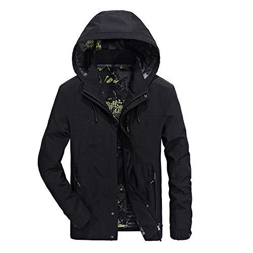 Men's Faux Leather Jacket Biker Fashion Cotton Coats Loose Large Size Men's Jacket-Navy_L