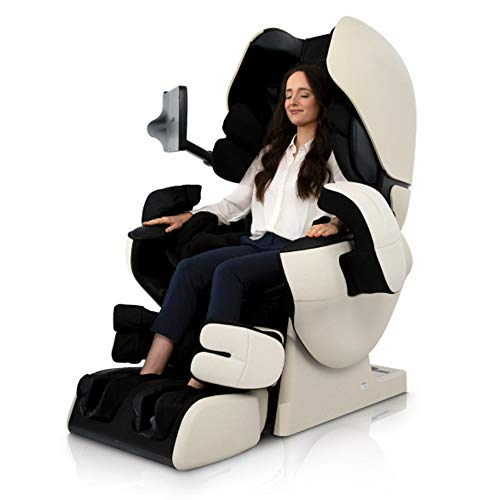 Inada Robo Made in Japan AI Hybrid Mechanism Analysis by Artificial Intelligence Facial Recognition Noise Reduction Dome Full Body Massage Chair (Ivory w/Black)
