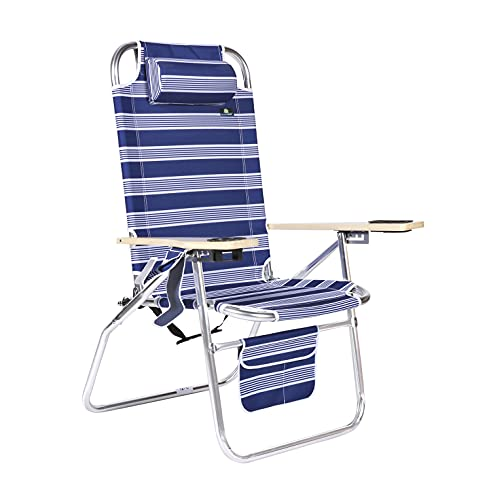 Deluxe XL Wide Tall Plus Size Aluminum Folding Big Heavy Duty Beach Chair for Sand, 17 inches Seat Height - 300 lb Load