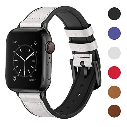 Sichen 2020 El más Nuevo Compatible para Watch Correa 38 mm 40 mm, 42 mm 44 mm, Correa de Cuero de Grano Superior Resistente al Sudor y Correa de Goma híbrida Compatible con iWatch Series 5/4/3/2/1