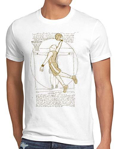 style3 Jugador de Baloncesto de Vitruvio Camiseta para Hombre T-Shirt da Vinci Hombre Basketball, Talla:L, Color:Blanco