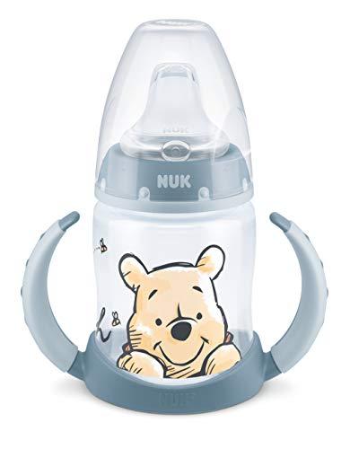 NUK First Choice+ Disney Winnie The Pooh Learning Bottle | 6-18 Months | Temperature Control Indicator | 150ml | Anti-Colic Valve | Leak-Proof Spout | Ergonomic Handles | BPA Free | Blue