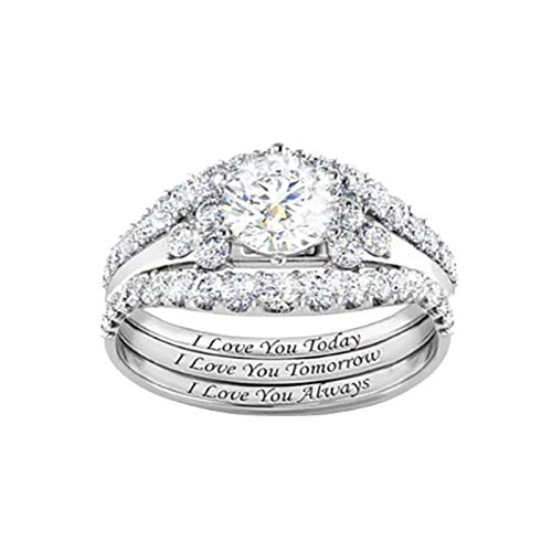 zhushuGG Exquisite Zircon Diamond Ring Engagement Ring Wedding Jewelry Accessories Gift Fashion Trend Simple Infinity Ring