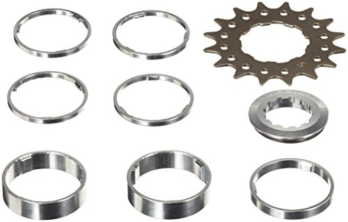 Point Ritzel single-speed/Distanzring-Set, Cr-Mo Stahl, Distanzring Aluminium, Distanzring-Set 4x3 mm/ 1x5 mm/ 2x10mm, silber-schwarz, 16 Zähne, 02020005