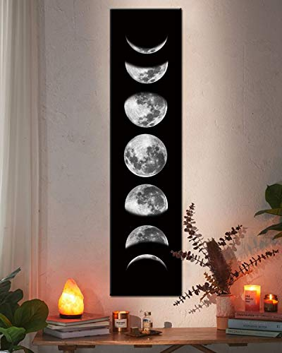 Moon Phase Wall Art Painting, Black and White Moon Canvas Print Poster Wall Art Decoration for Bedroom Living room (Black unframed)
