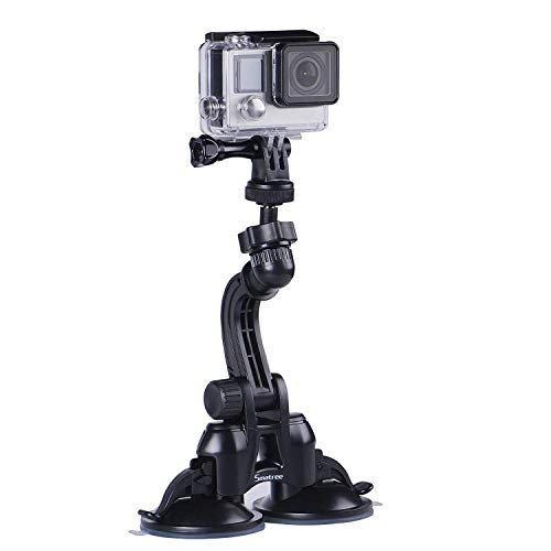 Smatree Double Suction Cup Mount with Greater Suction Power Compatible for Gopro Max/Hero 9/8/7/6/5/4/3+/3/2/1/ Hero Session/for DJI OSMO Action Camera(Updated Version)