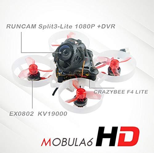 HAPPYMODEL Aktualisiert Mobula6 HD 1S 65 mm bürstenloser Quadcopter Whoop Mobula 6 HD FPV Renndrohne BNF mit AIO 4IN1 Crazybee F4 Lite Runcam Split3-Lite 1080P HD Kamera (BNF TBS CRSF RX)