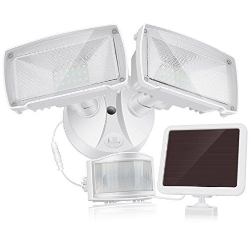 LED Außenstrahler mit Solar-Panel und Bewegungs- Dämmerungssensor, 980 Lumen, 5000K, für Garten, Hof und Garage, Solarlampe für Außen, Außenlampe, Außenleuchte