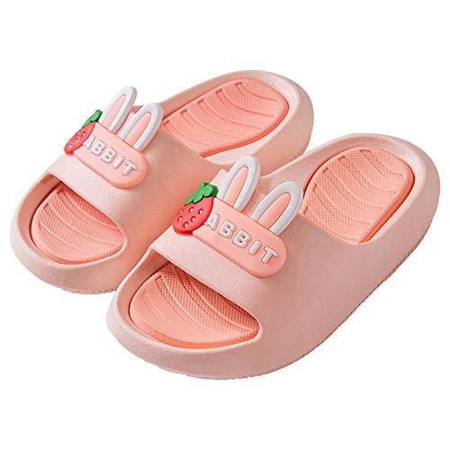 Cxypeng Chanclas Piscina Niña Sandalias,Zapatillas de niños de PVC de Dibujos Animados Bonitos, Sandalias de baño de Verano y Zapatillas-Pink_22cm,Sandalias Playa con Resbalón