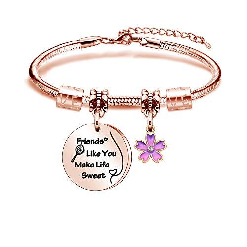 Tibond Pulsera de mujer con exquisita moda color oro rosa Bnagle para amigo como tú hacer la vida dulce