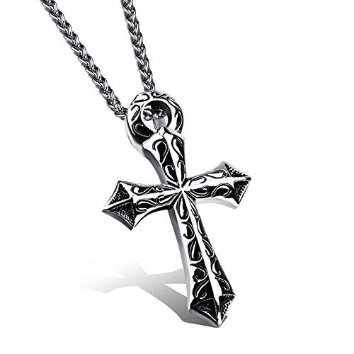 Collar con colgante de cruz de dragón y espada de acero ino