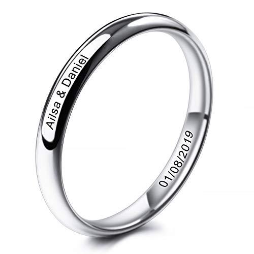 MeMeDIY 3mm El Tono De Plata Acero Inoxidable Anillo Ring Banda Venda Alianzas Boda Amor Love Talla Tamaño 17 - Grabado Personalizado