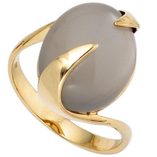 Ring Goldring Damenring mit Mondstein 585 Gold Gelbgold elegant Damen, Ringgröße:Innenumfang 60mm ~ Ø19.1mm