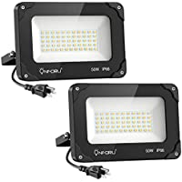 2-Pack Onforu 50W LED Flood Light with Plug