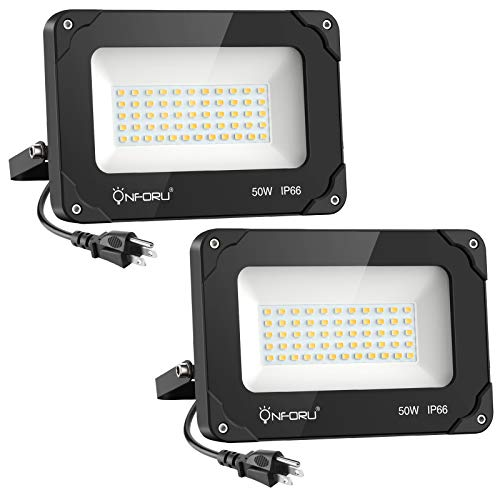 Onforu 2 Pack 50W LED Flood Light with Plug, 5000lm Super Bright LED Work Light, IP66 Waterproof Outdoor Security Lights, 5000K Daylight White Plug in Floodlight for Yard, Garden, Basketball Court