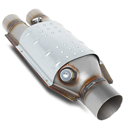 Universal Weld On 2.25 inches/Dual 2 inches Inlet 15.25 (L) x 6 (W) x 4 (H) SS Catalytic Converter Exhaust Pipe