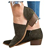 Aniywn Women's Block Heel Bootie Ankle Boot Cut Out Stacked Block Heel Ankle Booties Closed Toe Side Zipper Ankle Boot Army Green