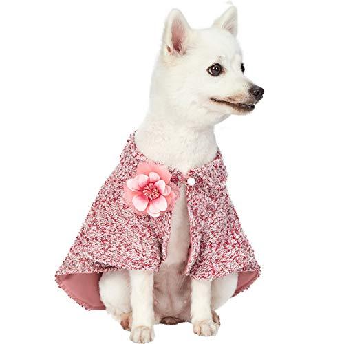 Blueberry Pet Marled Cerise rojo para todo clima traje hecho a mano de punto para perro Poncho puente con collar desmontable y flor, longitud de la espalda 41 cm, paquete de 1 ropa para perros