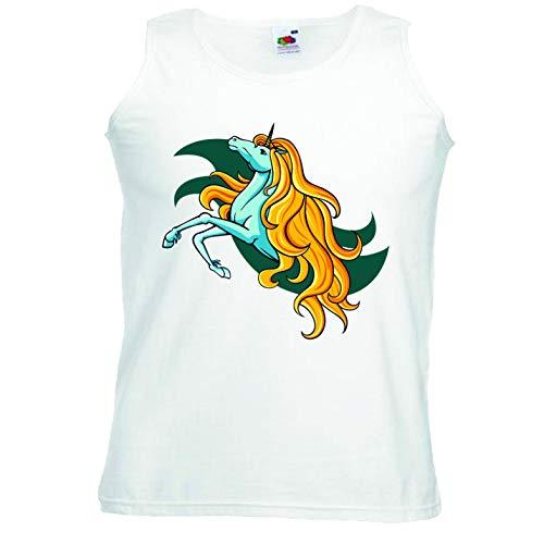 Reifen-Markt Camiseta sin mangas con diseño de unicornio, unicornio mítico, caballo, cabra, emoji, licorne, unicornio, mito, medieval, cuerno sin mangas, en color blanco Blanco S