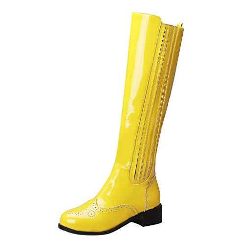 Damen Winter Stiefel 2019 Damenstiefel Lässige Mode Hochhackige High-Tube-Stiefel mit seitlichem Reißverschluss Hohl Schuhe Warm Stylisch Ausgehen Wild Jeden Tag Schuhe(Gelb,37)