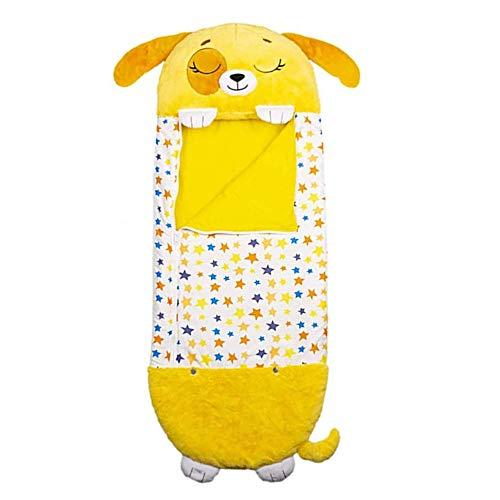 LLDMZ Saco de Dormir para niños Almohadilla para la Siesta Almohada y Saco de Dormir La Almohada para Animales Dos en uno se Puede convertir en un Saco de Dormir Amarillo para niños