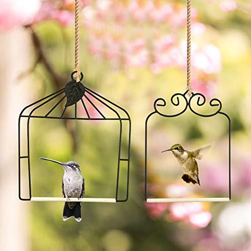 MIXXIDEA HUMMINGBIRD FEEDERS 세트 조류 스윙 금속 프레임 FINCH HUMMINGBIRD PERCH 야생 조류 스윙 추기경 참새 나무 두꺼운 조류 농어 녹 방지 2 팩 (블랙)