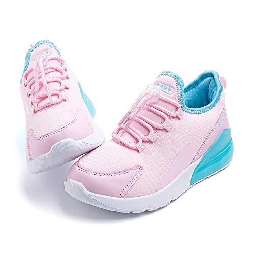 Zapatillas Running Niño Niña Deporte Zapatos Deportivos Ligeras Sneakers Correr Transpirables Casual Cómodos Gimnasia Rosa y Azul-2 32 EU