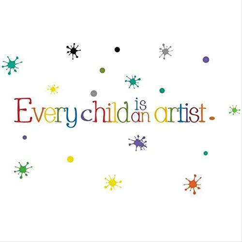 Hinleise Pegatinas de pared de color inglés con frase corta niño es un artista pegatinas para jardín de infancia Centro de educación temprana decoración de pared