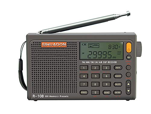 SIHUADON R-108 FM Stereo LW MW SW AIRband DSP Full Band Portable Radio with Headphones Jack and Antenna Jack Sleep Timer and Alarm Clock 500 Memories preset Stations Good for Family by RADIWOW