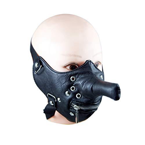 BESTOYARD Motorrad Fahrrad Radfahren Maske Winddicht Staubdicht Fahrrad Maske Half Face Zipper Maske mit Niet Decor Lange Nase Lustige Coole Cosplay Maske (Schwarz)