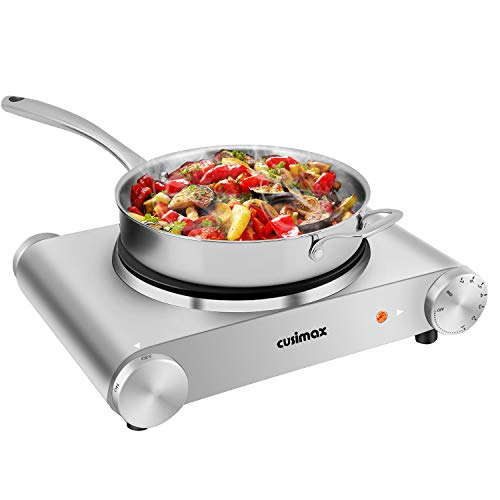 Hot Plate, CUSIMAX 1500W Electric Hot Plate for Cooking Single Burner Electric Stove Portable Stove with Heat-up in Seconds Adjustable Temperature Control, Silver Stainless Steel Body is $37 (38% off)