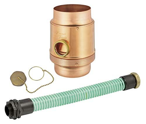"""Regenwassersammler-Set Kupfer 3tlg, Ø 100 mm, Überlaufschutz, mit 1 1/4"""" Schlauch und Fassanschluß"""