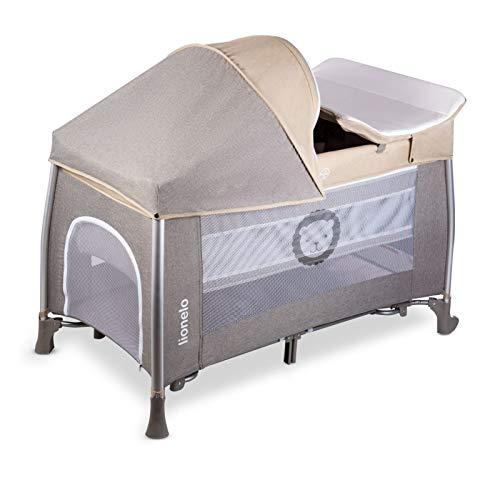 Lionelo Simon 2in1 Reisebett Baby, Laufstall Baby ab Geburt bis 15kg, Spielkarussell mit Spielzeug, Moskitonetz, zusammenklappbar (Sand) - 5