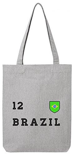ShirtStreet Brasil Fußball WM Fanfest Gruppen Premium Bio Baumwoll Tote Bag Jutebeutel Stanley Stella Trikot Brasilien, Größe: onesize,Heather Grey