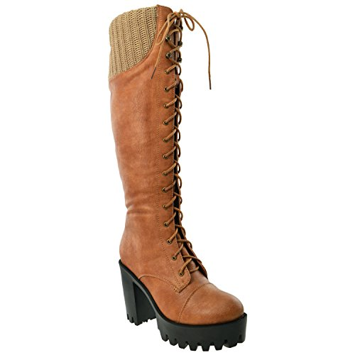 Generation Y Women's Knee High Boots Knitted Cuffs Lace Up Combat Platform Chunky High Heels