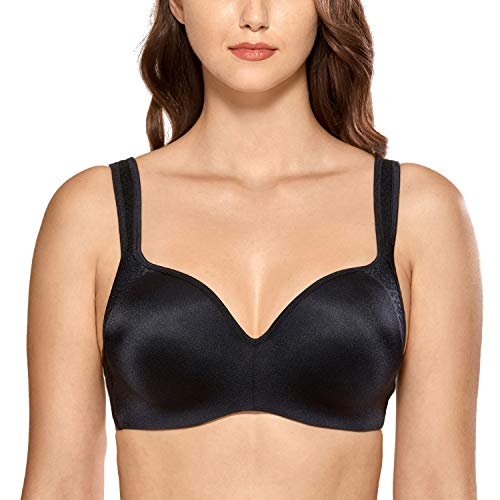 DELIMIRA Women's Seamless Smooth Underwire Full Coverage Support Balconette Bra Black 44C