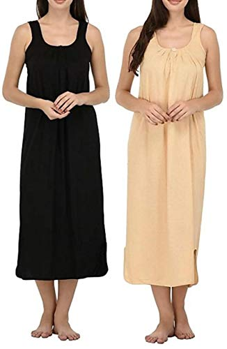 ROSHAN Women's Cotton Solid Midi Nightgown (Pack of 2) (ROSHAN_Multicolored)
