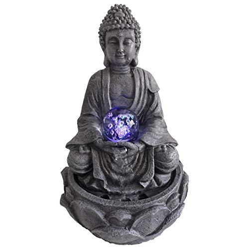 "DRULINE LED Zimmerbrunnen ""LOTUS"" Buddha Figur Glaskugel 30 cm"