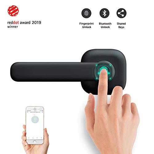 Smart Lock Front Door, Keyless Entry Door Lock Deadbolt, biometric Automatic Unlock with Bluetooth/Fingerprint/Smart Phone App for Home/Hotel/Apartment (Black)