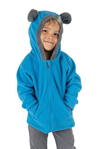 Cuddle Club Chaqueta Polar niño / niña Ropa Bebé y Niño de 0 a 5 años – Abrigo / Disfraz Bebé para Exterior con Cremallera y Capucha – BearFleeceJacketBlue4T