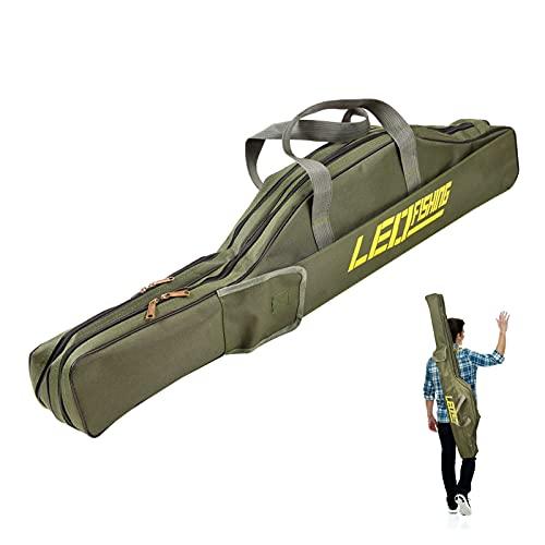 2 Capas Bolsa de Pesca de con Correa para el Hombro 150cm Estuche para Caña de Pescar Plegable Portátil Bolsa de Carrete de Caña Duradera Resistente al Desgarro (Army Green)