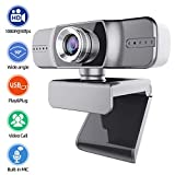 HD Webcam, Thustand 1080P Streaming Webcam with Microphone, Laptop USB PC Webcam, Recording Pro Video Web Camera, Manual Focus Camera for Video Conferencing, YouTube, Recording and Streaming