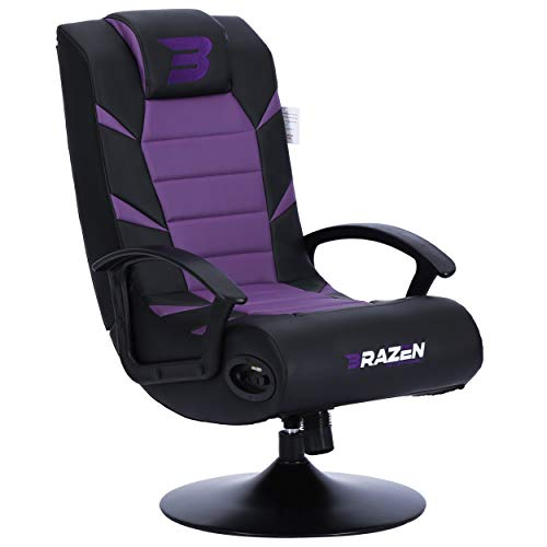 New BraZen Pride 2.1 Gaming Chair for Kids with Foldable Seat Bluetooth Speaker and Pedestal Base - Purple