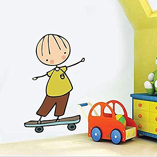 DIY Muursticker PVC Vinyl Cartoon Home Decoratie Cartoon Leuke Kleine Engel Muursticker Meisje Skateboard voor Kinderen Baby Kamer Slaapkamer Home Decor Applique Wallpaper